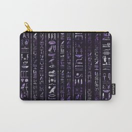 Amethyst and Silver Egyptian hieroglyphics pattern Carry-All Pouch