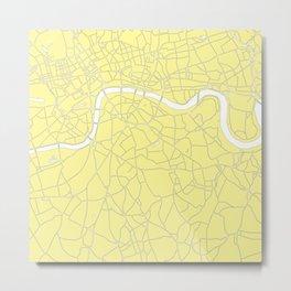 London Yellow on White Street Map Metal Print