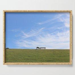 Blauer Himmel über Schaf auf grünem Deich Nordseeinsel Pellworm Serving Tray