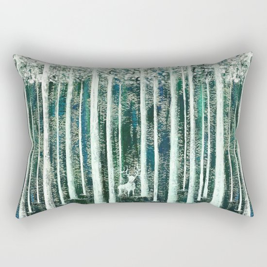 Christmas Stag in the jungle handpainted Rectangular Pillow