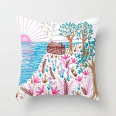 Cliff Top Cabin Throw Pillow