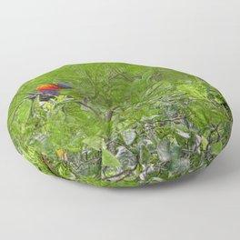Grunge Rainbow Lorikeets in a tree Floor Pillow