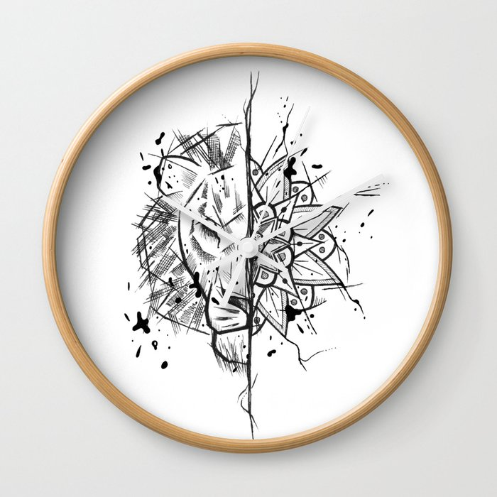 Lion Mandala Handmade Drawing Made In Pencil And Ink Tattoo Sketch Tattoo Flash Blackwork Wall Clock By Lucagenart