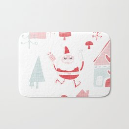 Santa is in Town White #Holiday #Christmas Bath Mat