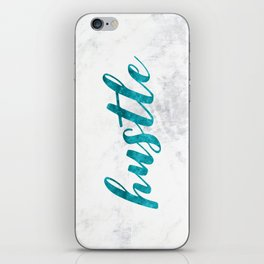 Blue Hustle Text Marble iPhone Skin