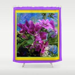 Purple French Hollyhock Flowers Art Design Shower Curtain