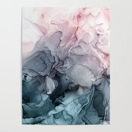 Blush and Payne's Grey Flowing Abstract Painting Poster