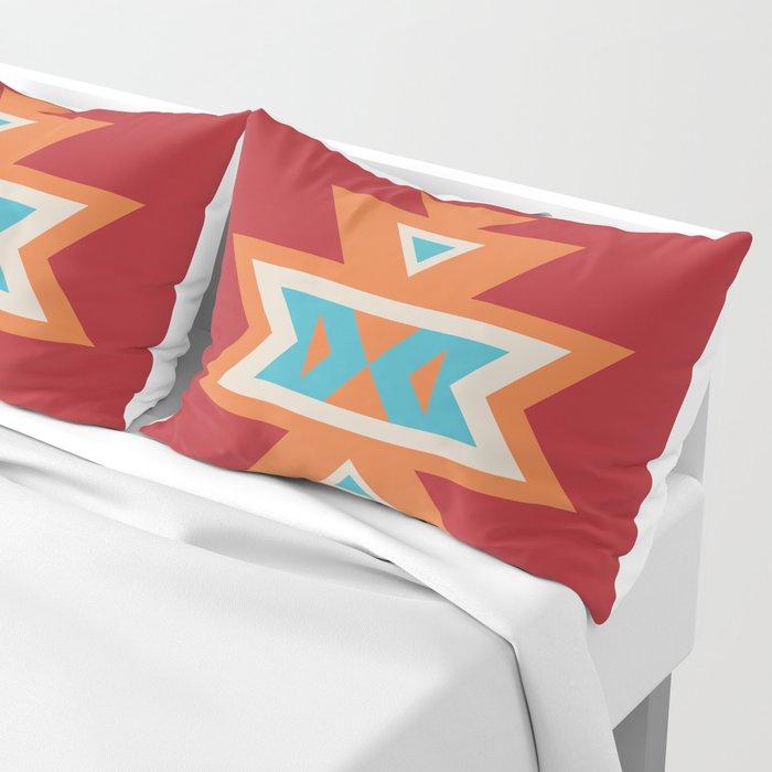 Navajo Aztec Pattern Orange Turquoise on Red Pillow Sham