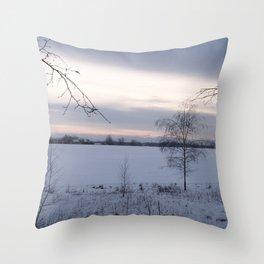 Winter landscape in blue Throw Pillow