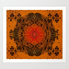 Rustic Antique Crimson Golden Ombre Boho Mandala Stamp Art Print