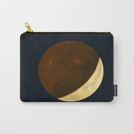 Vintage partial eclipse of the moon antique space art drawing print galaxy stars nebula Carry-All Pouch