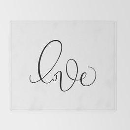 """""""Love"""" Hand Lettering Art Throw Blanket"""