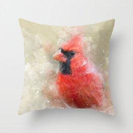 Northern Cardinal Watercolor Splatter Throw Pillow