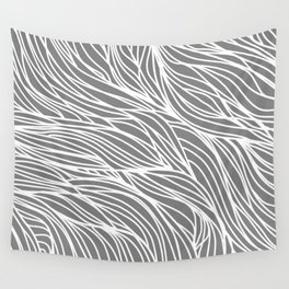 Gray Wave Lines Wall Tapestry