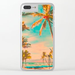 Vintage Hawaiian Beach, Mauna Lani Bay Teal Clear iPhone Case
