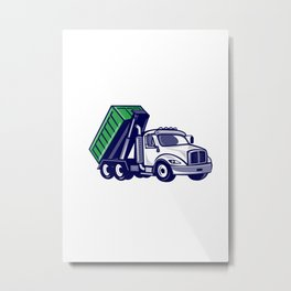 Roll-Off Truck Bin Truck Cartoon Metal Print