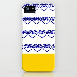 Blue Hmong heart and yellow bottom iPhone Case