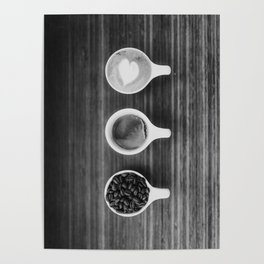 Three Coffee (Black and White) Poster