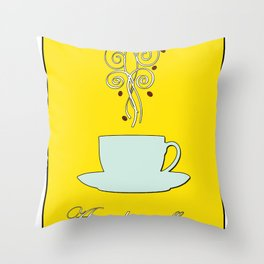 Aaah...coffee...  Retro / Vintage Coffee Print on Hello Sunshine Background Throw Pillow