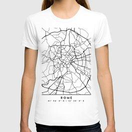 ROME ITALY BLACK CITY STREET MAP ART T-shirt