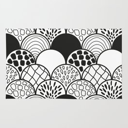black and white doodle scale arcs Rug