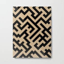 Black and Tan Brown Diagonal Labyrinth Metal Print