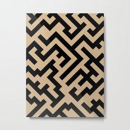 Black and Tan Brown Diagonal Labyrinth Metal Print