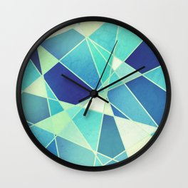 STAINED GLASS WINDOW BLUE Wall Clock