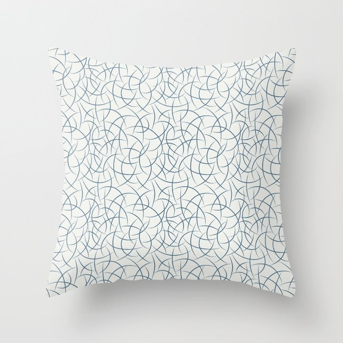 Dark Blue Abstract Crescent Shape Pattern on Off White - 2020 Color of the Year Chinese Porcelain Throw Pillow