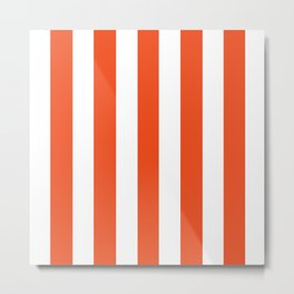 Microsoft red orange - solid color - white vertical lines pattern Metal Print