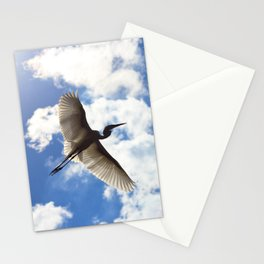 Egret in flight Stationery Cards