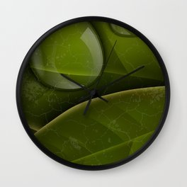 dew drops on green leaves Wall Clock