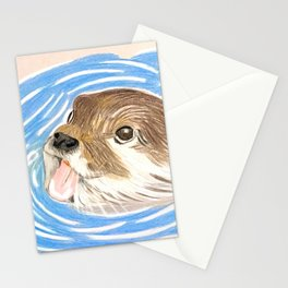 Otter in water Stationery Cards