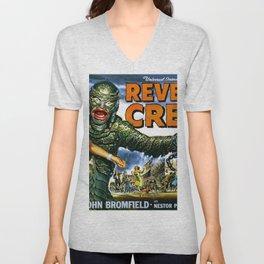 Revenge of the Creature, vintage horror movie poster, landscape Unisex V-Neck