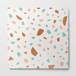 Simple Pastel Terrazzo Mosaic Metal Print