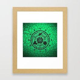 Green Circle Of Triangle Framed Art Print