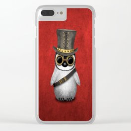 Steampunk Baby Penguin Clear iPhone Case