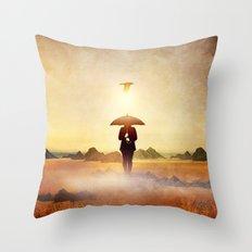 Waiting for the rain Throw Pillow
