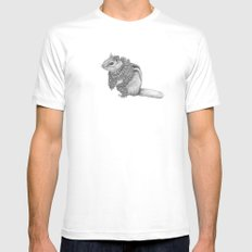 The Chipmunk- Feathered MEDIUM Mens Fitted Tee White