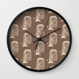 Tuba Pattern Brown and beige 2 Wall Clock