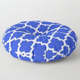White Quatrefoil Pattern Outline With Royal Blue Background Floor Pillow