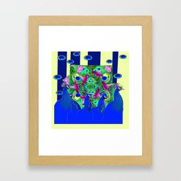BLUE PEACOCKS & MORNING GLORIES PARALLEL YELLOW PATTERNED ART Framed Art Print