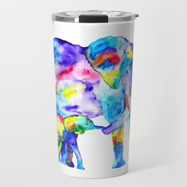 Colorful family elephants Travel Mug