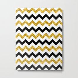 Chevron black and gold Metal Print