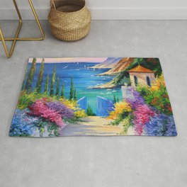 Sunny road to the sea Rug