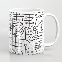 writing Mugs featuring ALIEN WRITING by Matthew Taylor Wilson