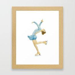 Girl in blue dress. Figure skater. Framed Art Print