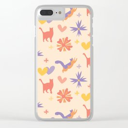 Colorful Cat Pattern Coral and Lavender with Flowers Clear iPhone Case
