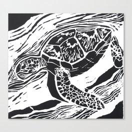 green turtle lino print Canvas Print