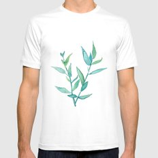 Bamboo Leaves White Mens Fitted Tee MEDIUM